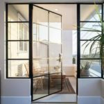 crittall style Steel door wth fixed side lights