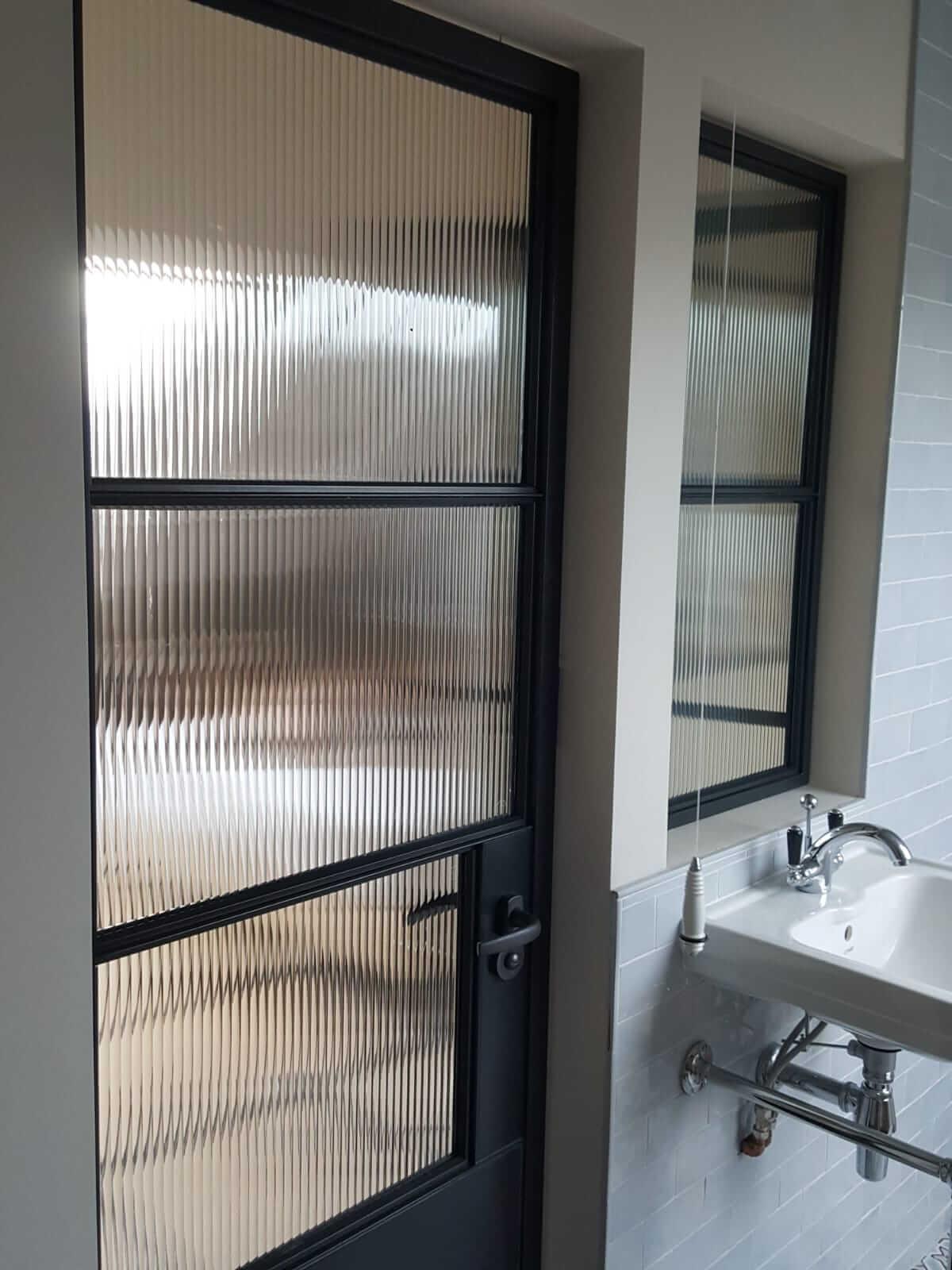 Original Steel Window and Doors with reeded glass Fulham 4