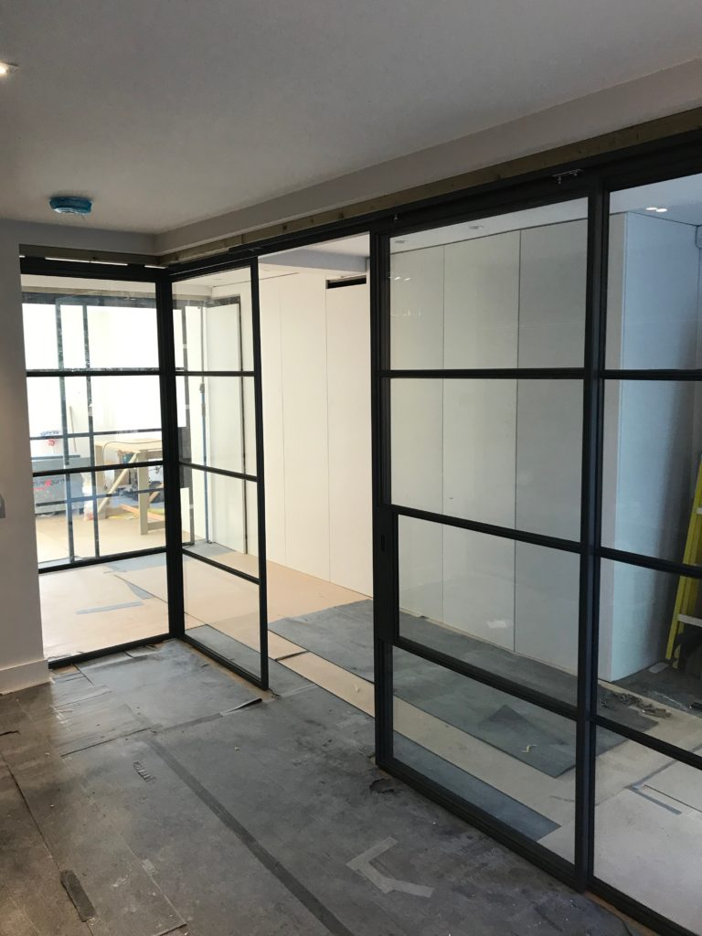 Crittall sliding door and Partition by Design Plus London 1