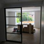 Crittall sliding door open Design Plus London