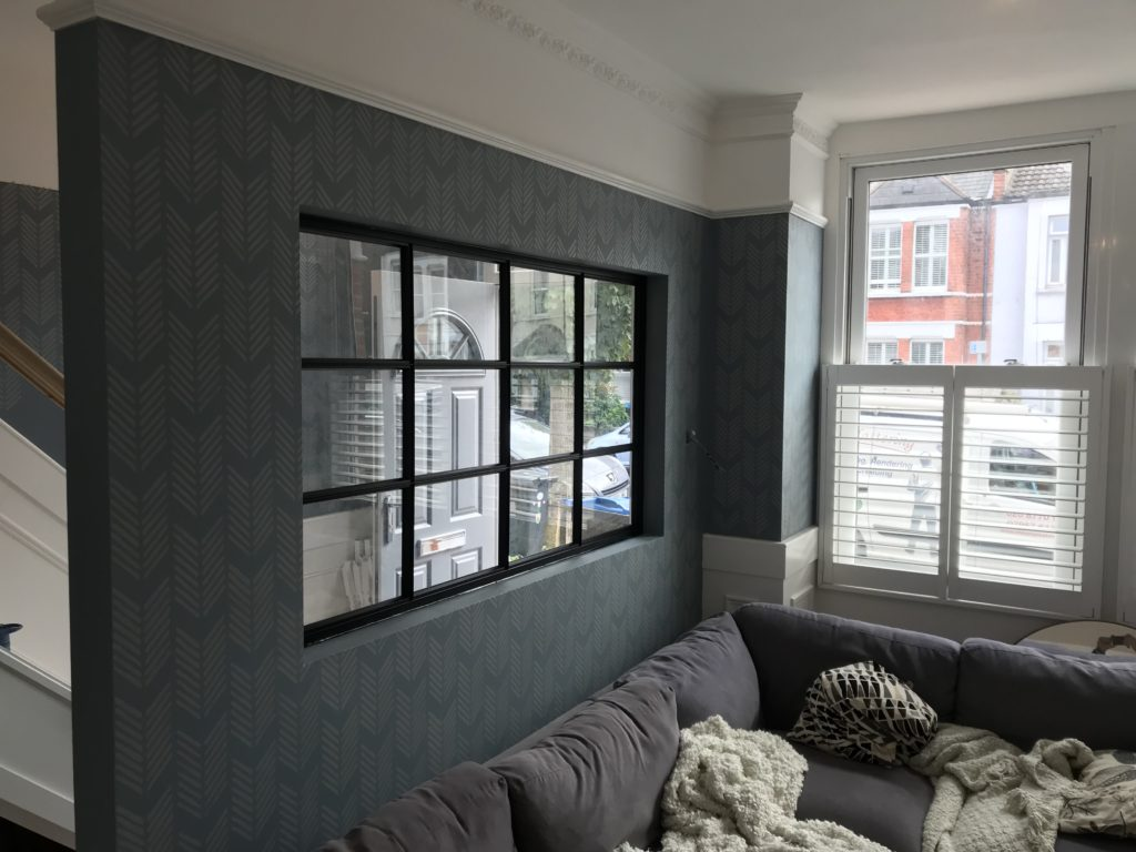 Black steel crittall style partition 1 Design Plus SW19
