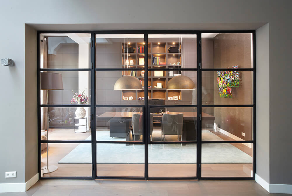Black Crittall inspired doors by Design Plus London