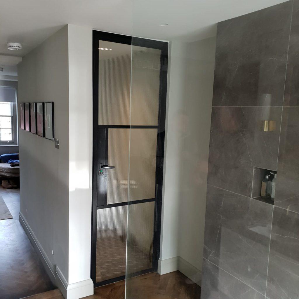 Internal Steel Crittall Door with Reeded glass