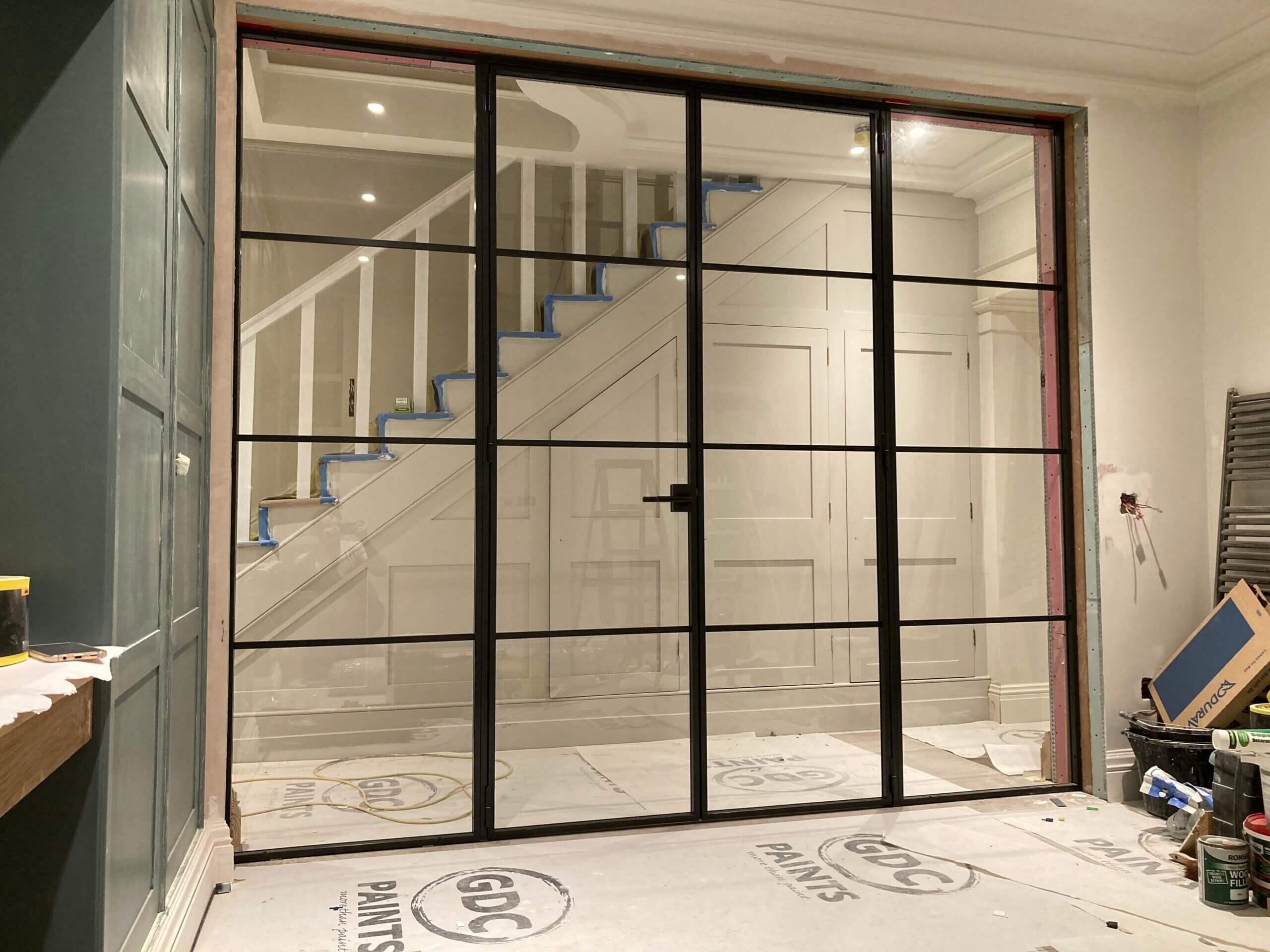 Internal Slim Steel Double Door Screen Design Plus London 01