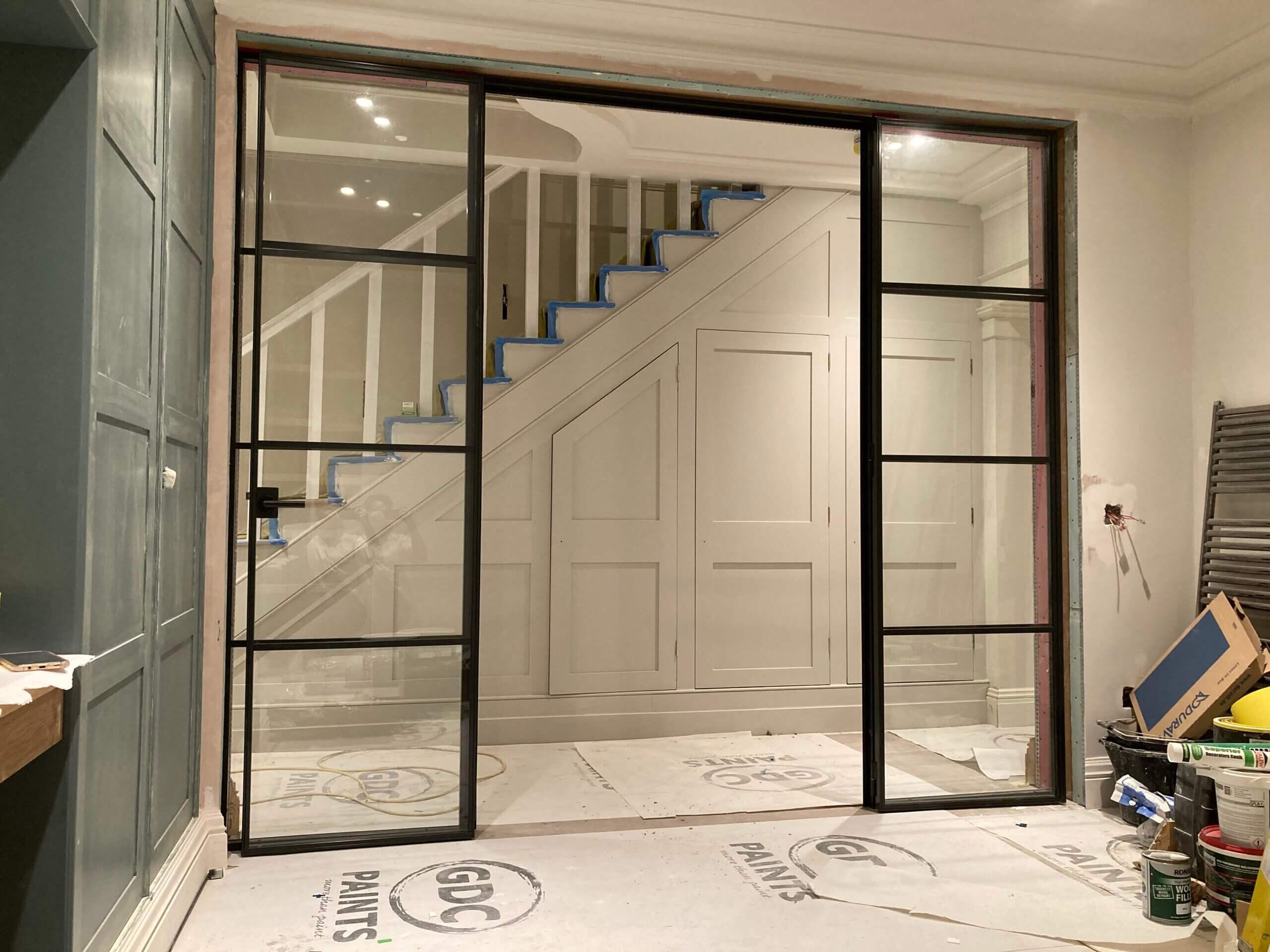 Internal Slim Steel Double Door Screen Design Plus London 02