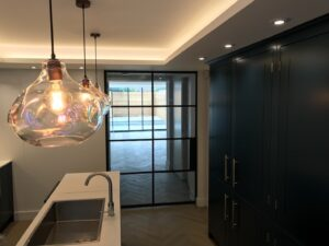 Original Steel Sliding Pocket Door in kitchen Design Plus London